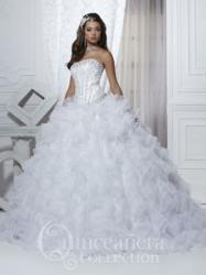 Spring 2013 Quinceaera dress with scoop neckline and full-cascading skirt offered in white, light pink, and royal.